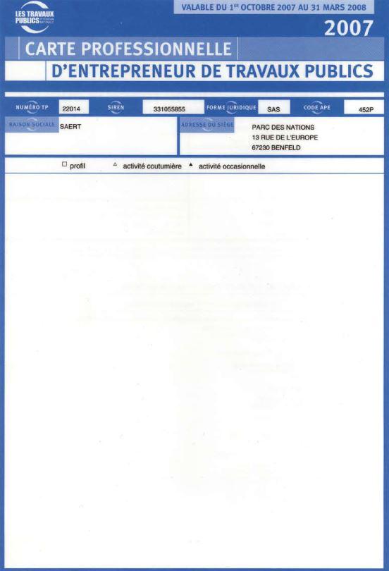 Certification Travaux Publics